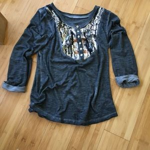 Free people embellished distressed Henley , M